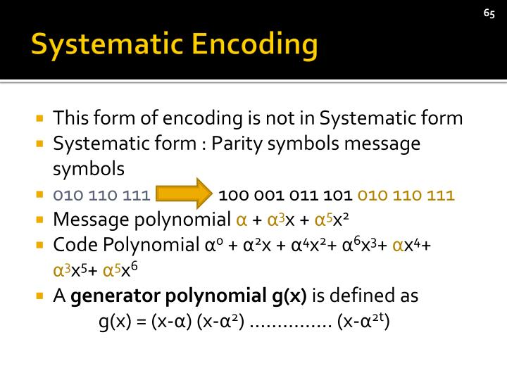 Systematic Encoding