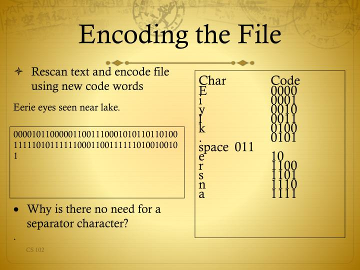 Rescan text and encode file using new code words