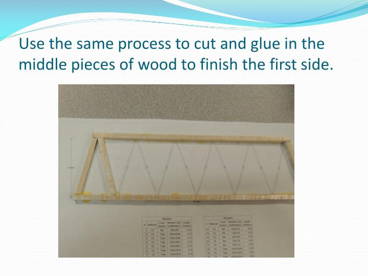 Use the same process to cut and glue in the middle pieces of wood to finish the first side.