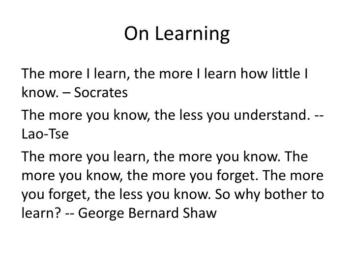 On learning