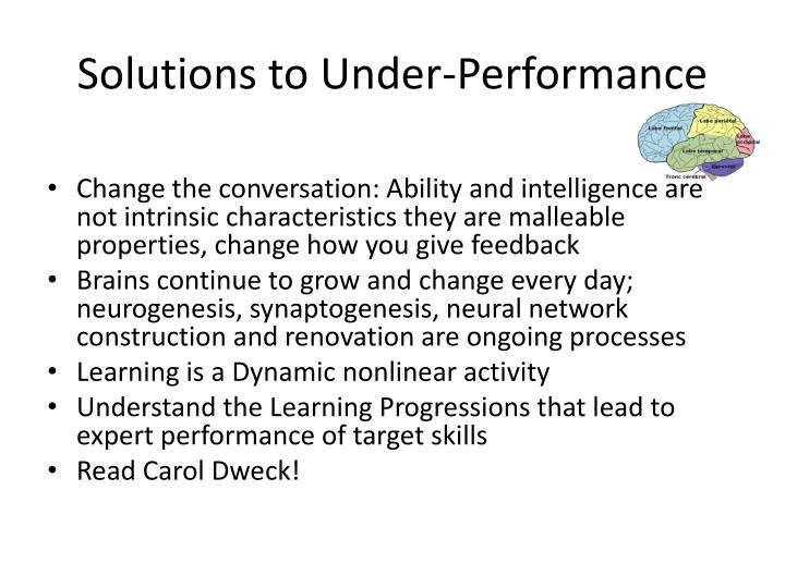 Solutions to Under-Performance