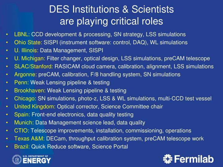 DES Institutions & Scientists