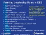 fermilab leadership roles in des