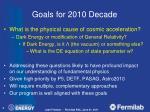 goals for 2010 decade