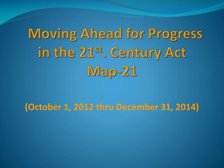 Moving Ahead for Progress