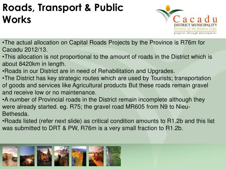 Roads, Transport & Public Works
