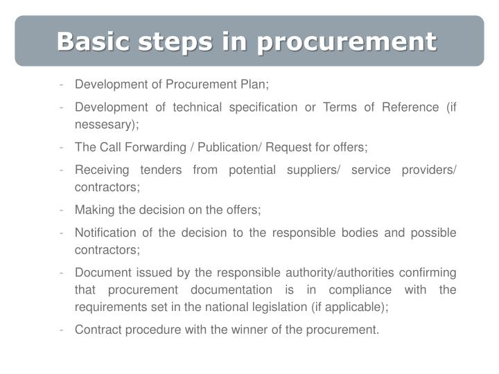 Basic steps in procurement