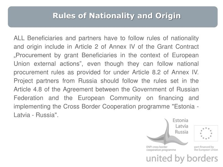 Rules of Nationality and Origin