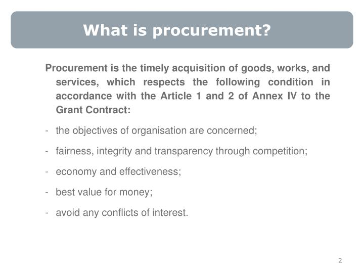 What is procurement?