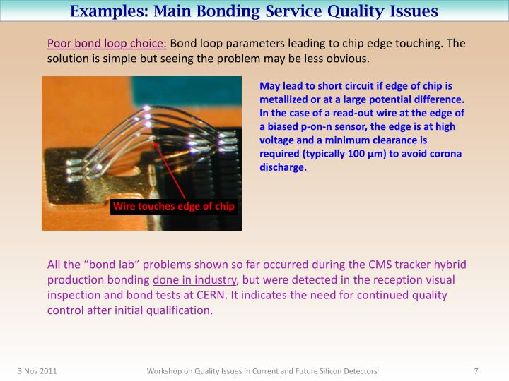 Examples: Main Bonding Service Quality Issues
