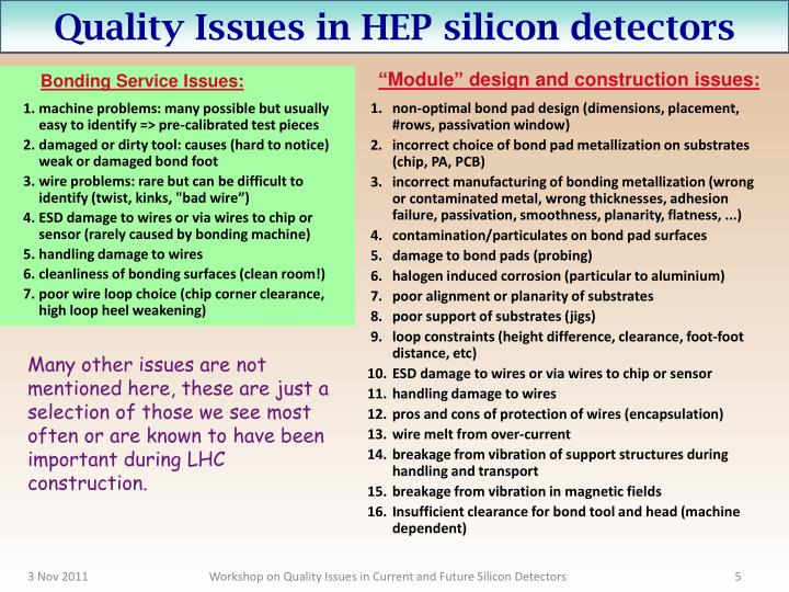 Quality Issues in HEP silicon detectors