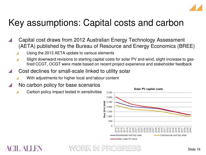 Key assumptions: Capital costs and carbon