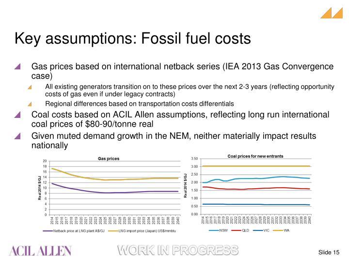 Key assumptions: Fossil fuel costs