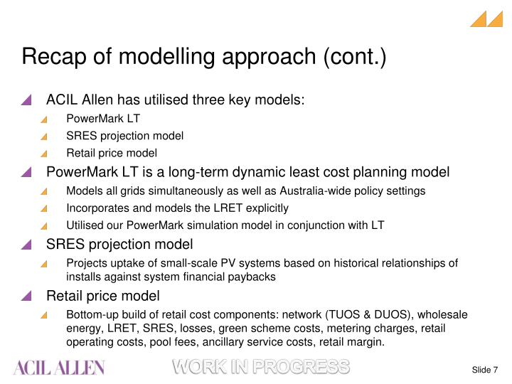 Recap of modelling approach (cont.)