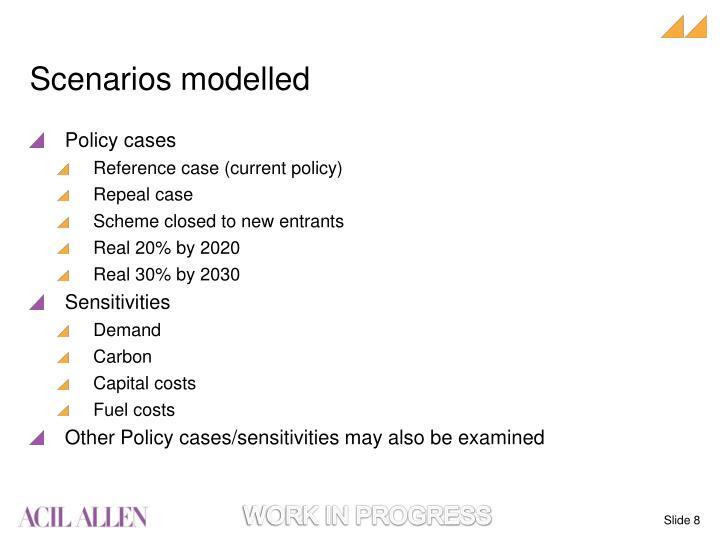 Scenarios modelled