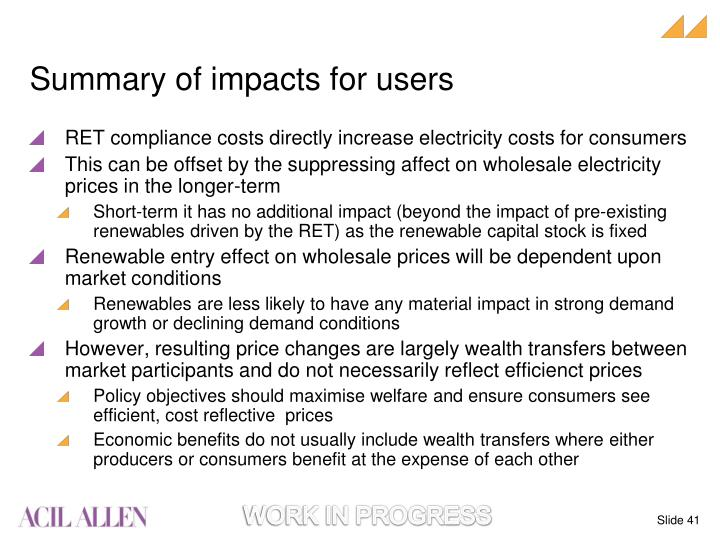 Summary of impacts