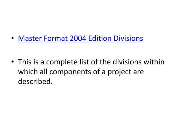 Master Format 2004 Edition Divisions
