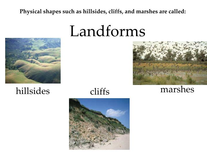 Physical shapes such as hillsides, cliffs, and marshes are called: