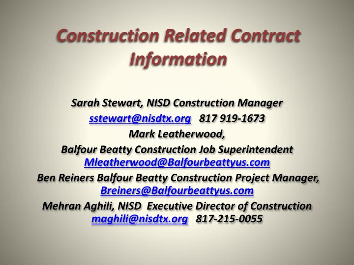 Construction Related Contract Information