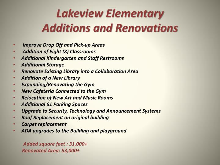 Lakeview elementary additions and renovations