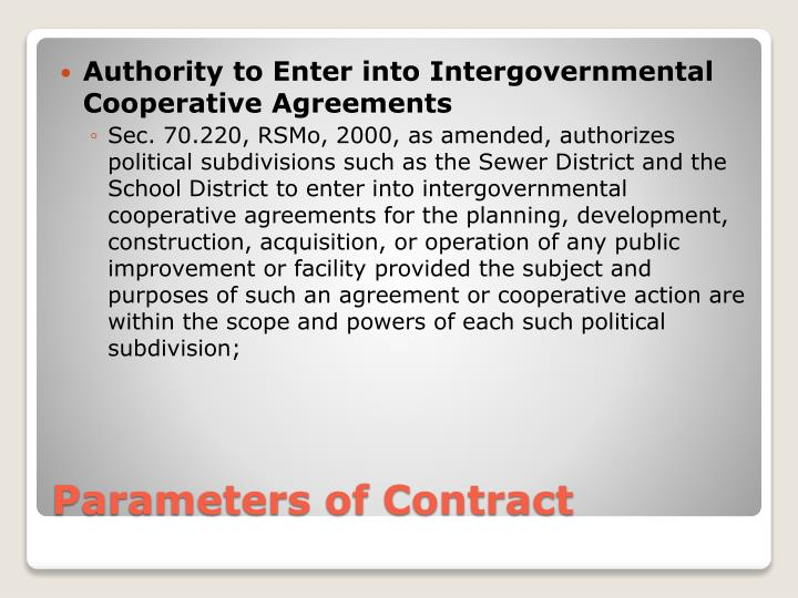 Authority to Enter into Intergovernmental Cooperative Agreements