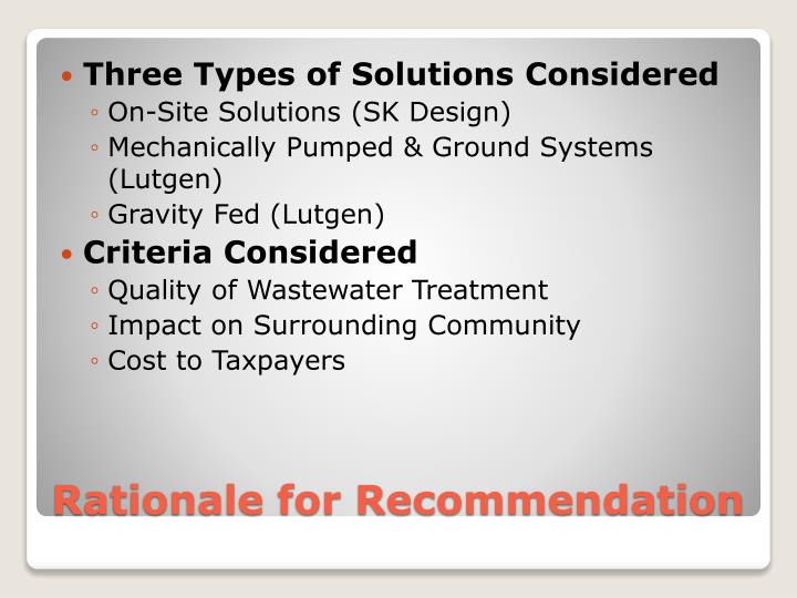 Three Types of Solutions Considered