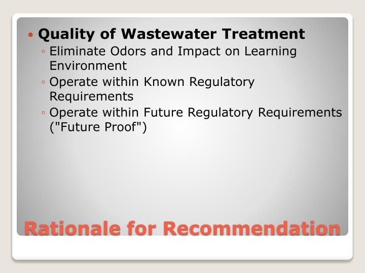 Quality of Wastewater Treatment