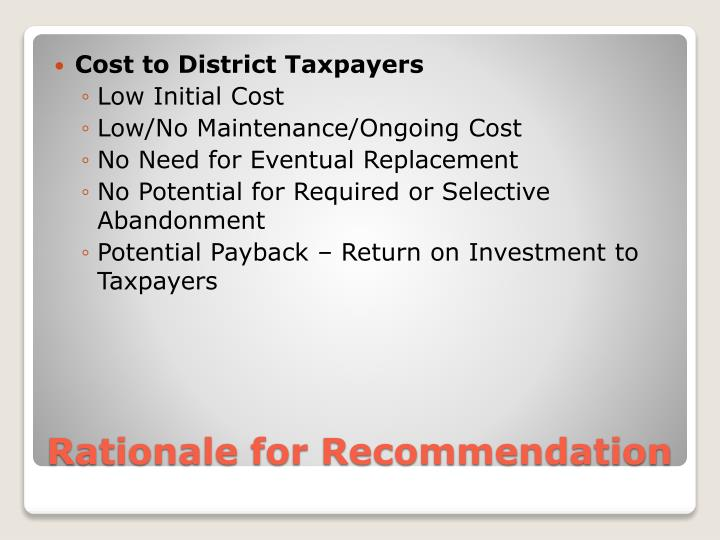 Cost to District Taxpayers