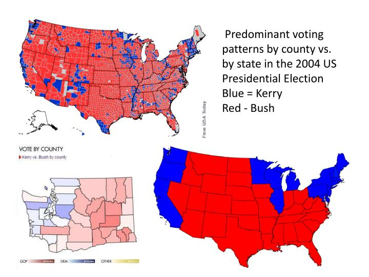 Predominant voting patterns by county vs. by state in the 2004 US Presidential Election