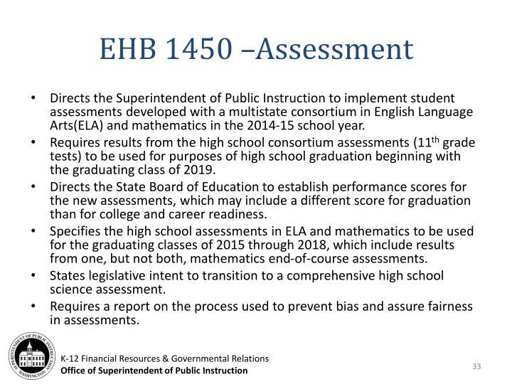 EHB 1450 –Assessment