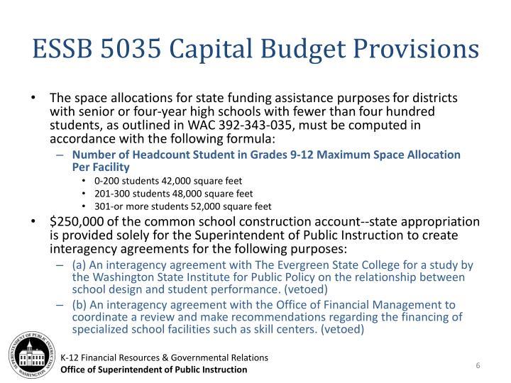 ESSB 5035 Capital Budget Provisions