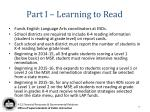 part i learning to read