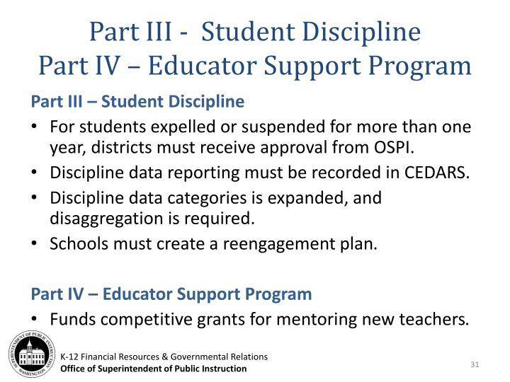 Part III -  Student Discipline