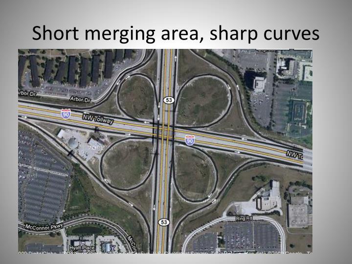 Short merging area, sharp curves