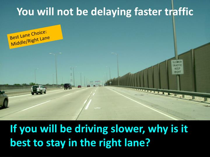 You will not be delaying faster traffic