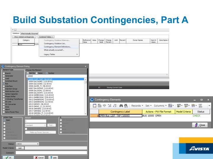 Build Substation Contingencies, Part A