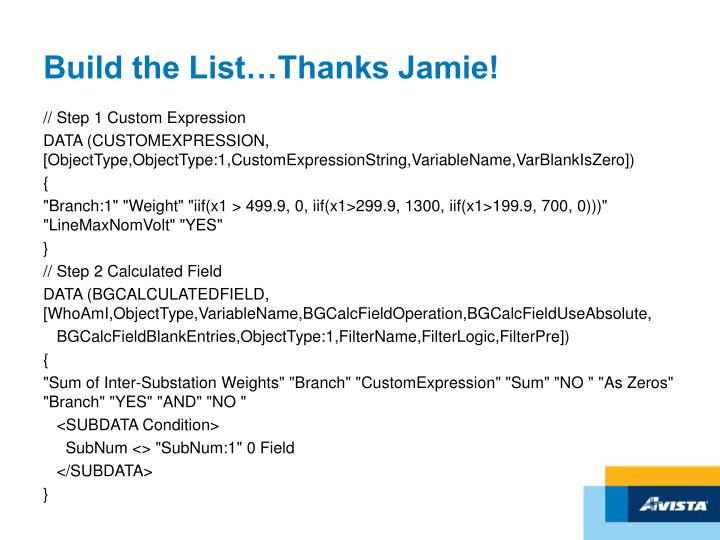 Build the List…Thanks Jamie!