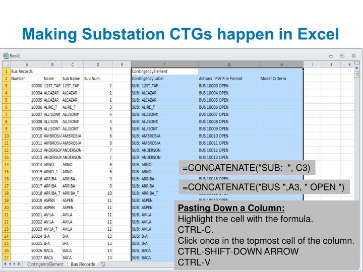 Making Substation CTGs happen in Excel