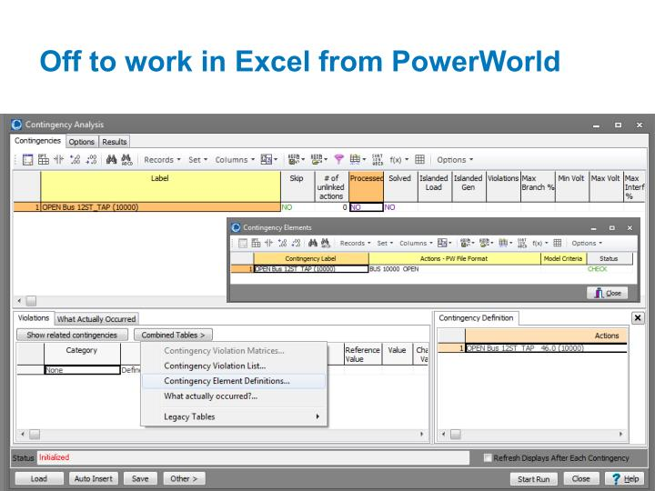 Off to work in Excel from