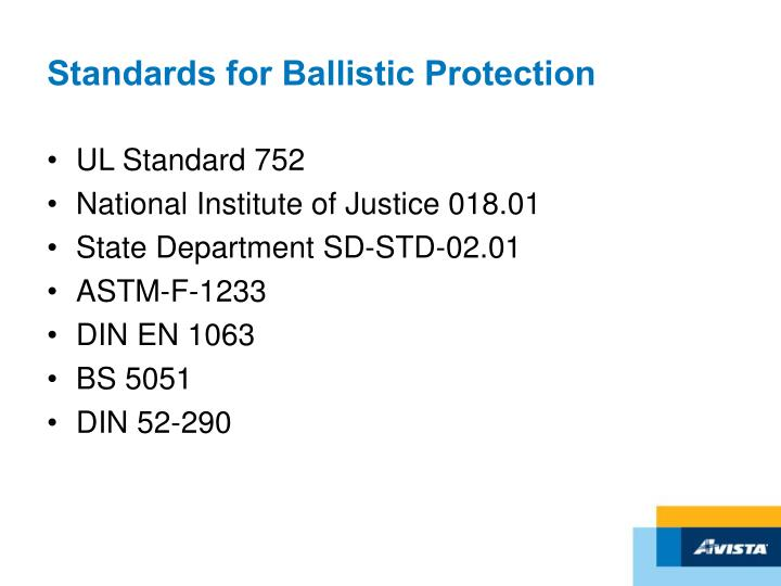 Standards for Ballistic Protection