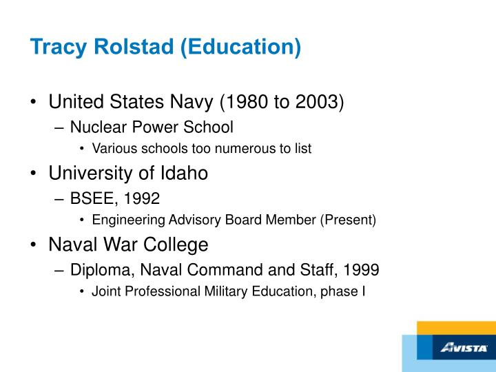 Tracy Rolstad (Education)