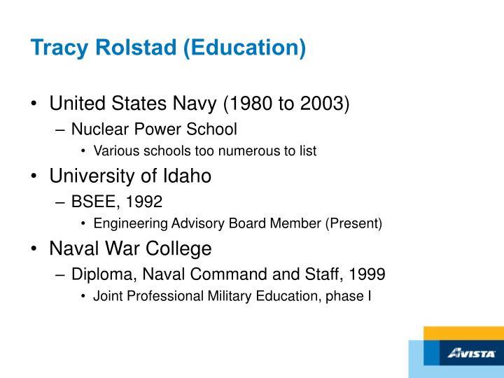 Tracy Rolstad (Education)