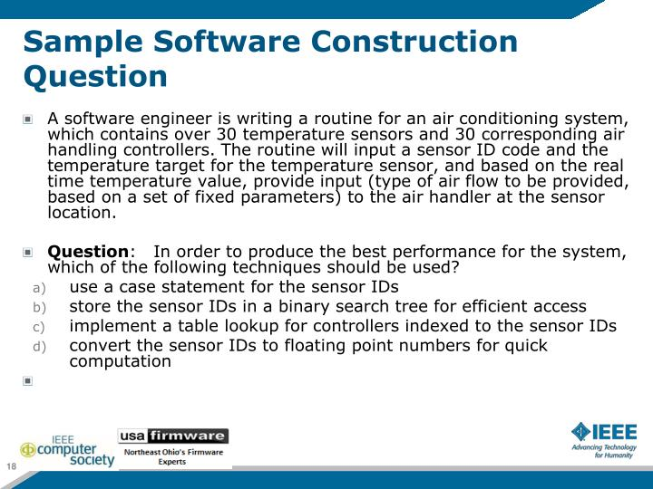 Sample Software Construction Question