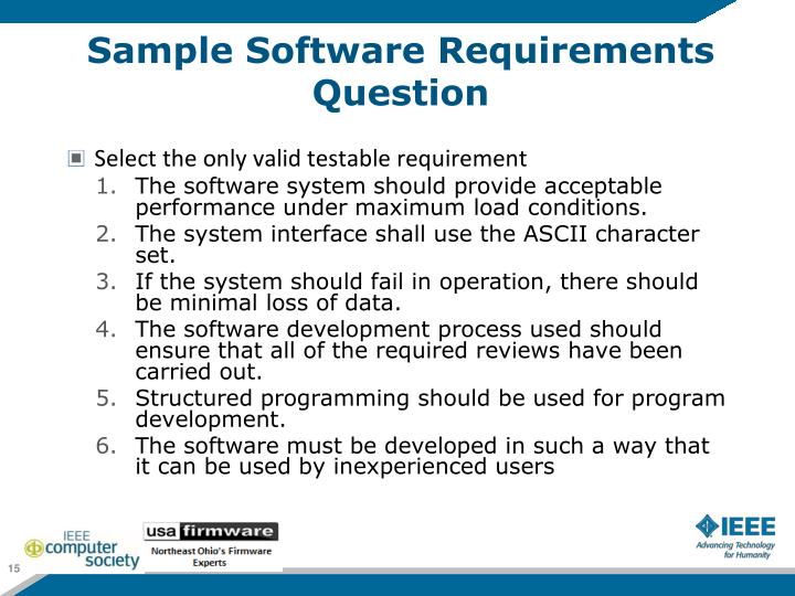 Sample Software Requirements Question