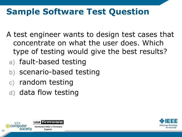 Sample Software Test Question