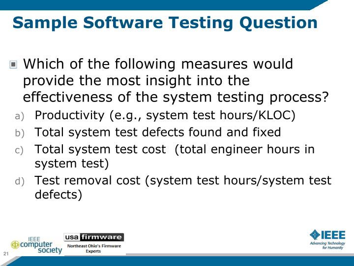 Sample Software Testing Question