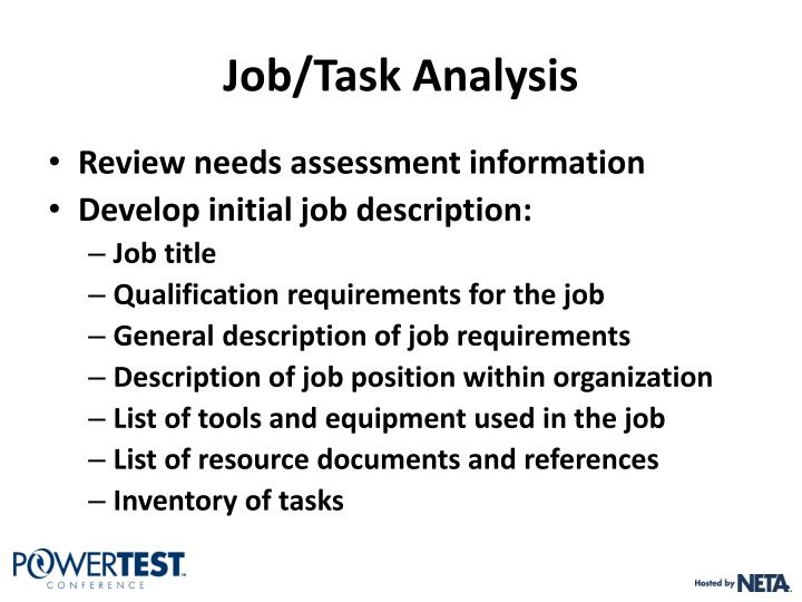 Job/Task Analysis