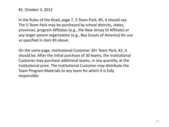 #1. October 3, 2012