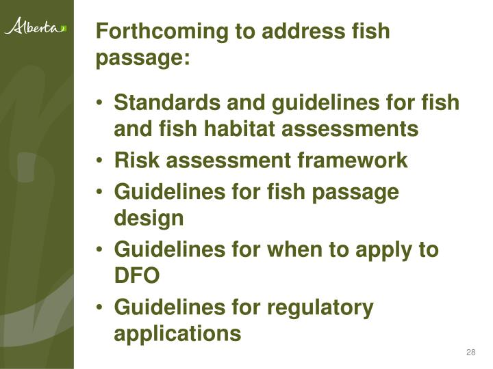 Forthcoming to address fish passage:
