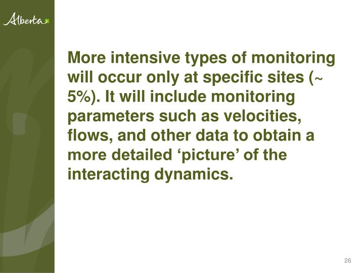 More intensive types of monitoring will occur only at specific sites (~ 5%). It will include monitoring parameters such as velocities, flows, and other data to obtain a more detailed 'picture' of the interacting dynamics.